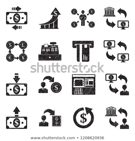 cash register machine icon drawn in chalk stock photo © rastudio
