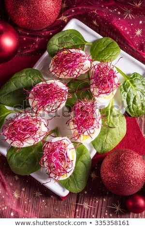 boiled eggs with red beet sprouts Stock photo © Dar1930