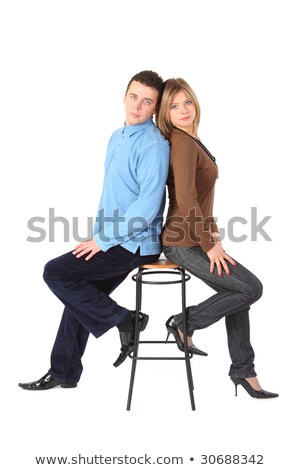 Paar bar kruk Maakt een reservekopie vrouw gelukkig Stockfoto © Paha_L