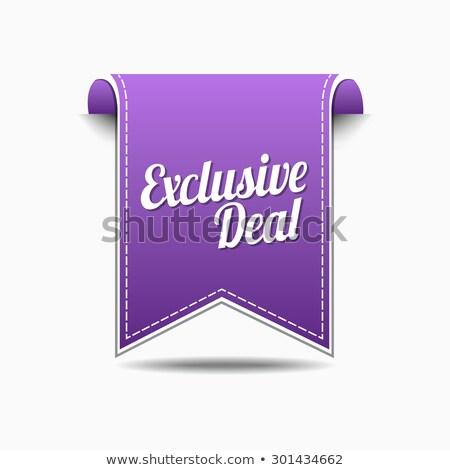 Exclusief deal violet vector icon ontwerp Stockfoto © rizwanali3d