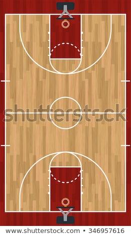 реалистичный вертикальный баскетбольная площадка иллюстрация твердая древесина Сток-фото © enterlinedesign
