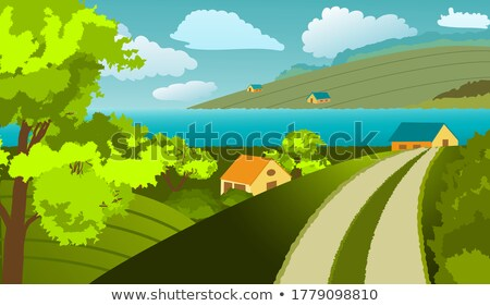 carretera · montana · pueblo · otono · paisaje · helado - foto stock © kotenko