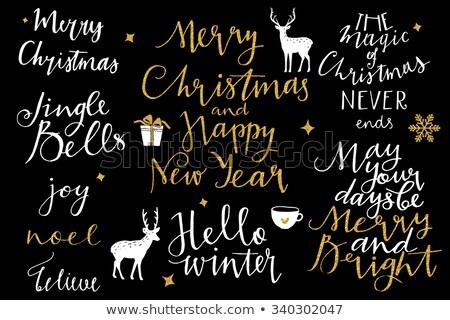 золото веселый Рождества Новый год 2016 коллекция Сток-фото © rommeo79