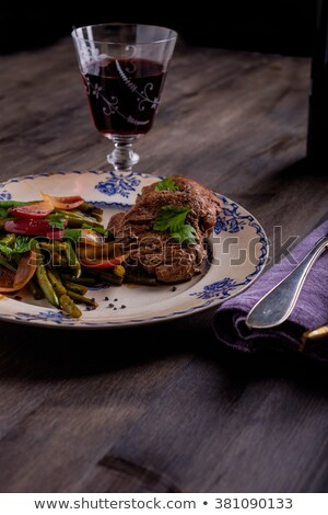 Beef Steak with some salad and a glass of wine Stock photo © phila54