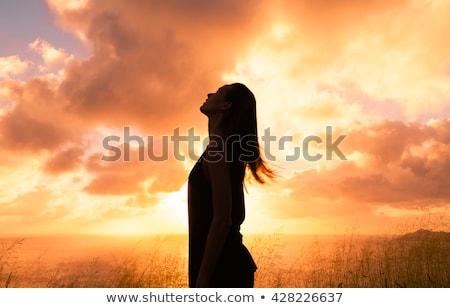 Foto stock: Mulher · oração · céu · mãos · adolescente