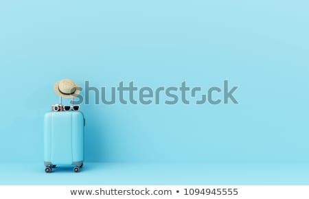 koffer · reiziger · toiletartikelen · hoed · houten · business - stockfoto © choreograph