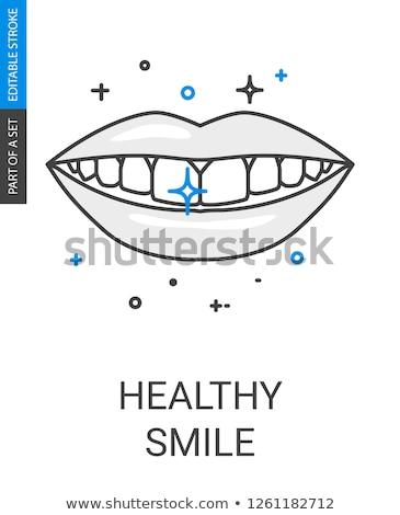 brilhante · dente · linha · ícone · teia · móvel - foto stock © rastudio