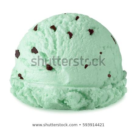 Menta csokoládé chip fagylalt merítőkanál étel Stock fotó © Digifoodstock