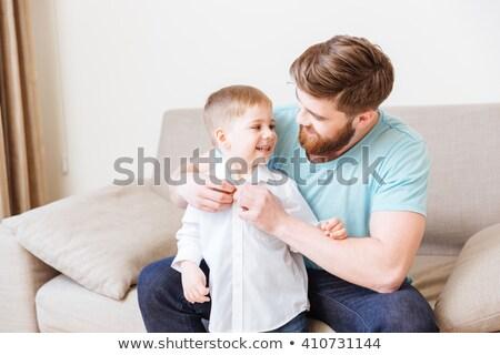 Boldog apa ül kanapé öntet kicsi Stock fotó © deandrobot