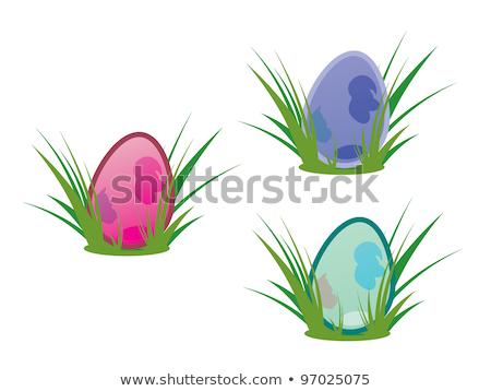 três · rosa · ovos · de · páscoa · grama · verde · 3D - foto stock © rob_stark
