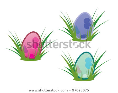 Tres pastel huevos de Pascua hierba blanco primavera Foto stock © Rob_Stark