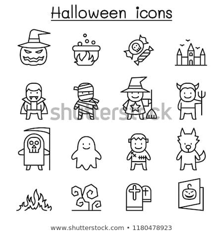 Halloween hat ayarlamak simgeler gui Stok fotoğraf © Voysla