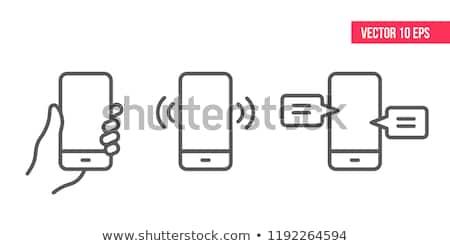 Mobiele icon kunst witte telefoon internet Stockfoto © nezezon