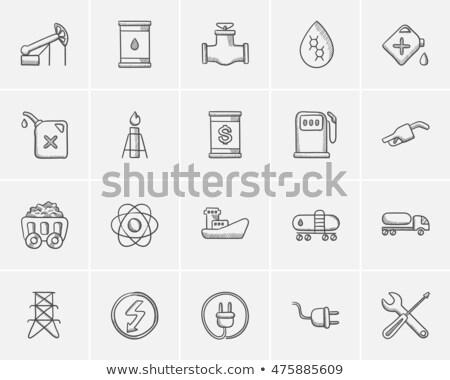 benzin · pompa · ağızlık · kroki · ikon · vektör - stok fotoğraf © rastudio