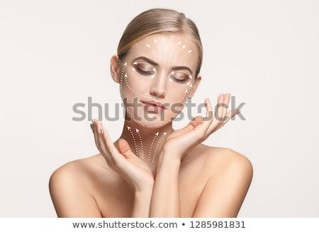 belo · mulher · jovem · perfuração · linhas · cara · cirurgia · plástica - foto stock © nobilior