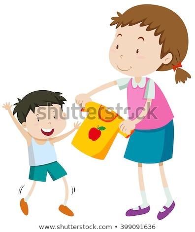 Mama pomoc mały chłopca sukienka ilustracja Zdjęcia stock © bluering