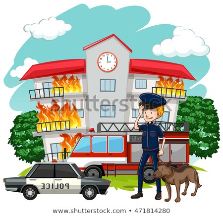 Policeman and dog at fire scene Stock photo © bluering