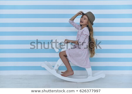 girl playing with horse Stock photo © cynoclub