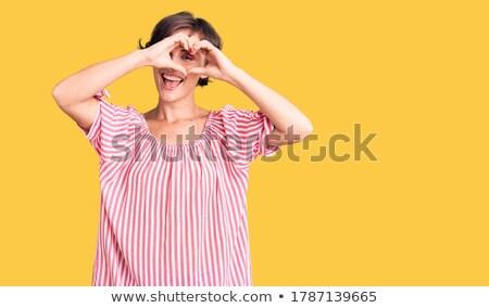 Alakú portré gyönyörű nő mosoly szemek fekete Stock fotó © konradbak