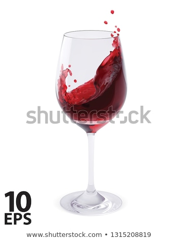 Сток-фото: Vector Realistic Pouring Red Wine Glass