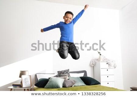 прелестный · ребенка · мальчика · белый · спальня · утра - Сток-фото © deandrobot