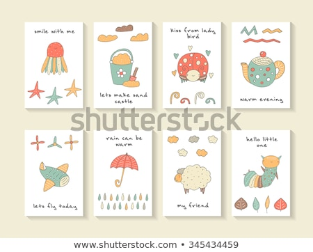 Card template with caterpillars and leaves Stock photo © bluering