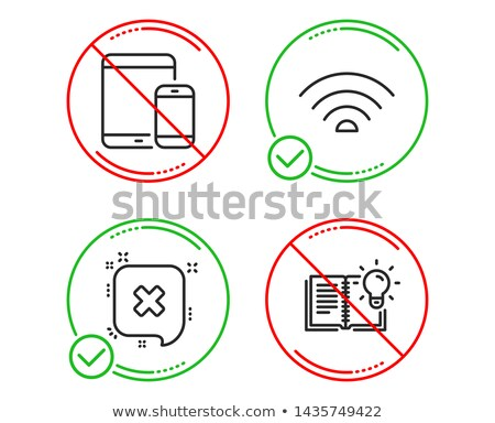 Tablet with a negative sign. Dont. Illustration Stock photo © alexmillos