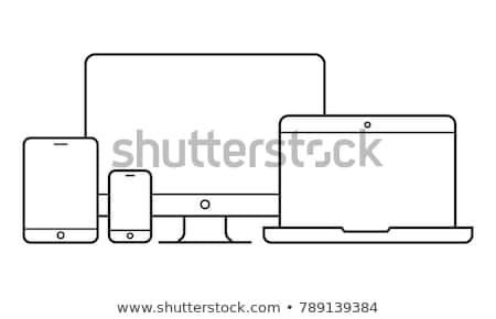 Laptop ikon rajz stílus izolált fehér Stock fotó © ylivdesign