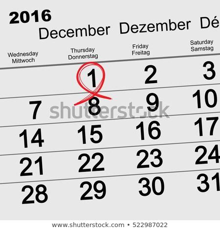 December 1, 2016 World AIDS Day. Red ribbon symbol. Calendar date reminder Stock photo © orensila