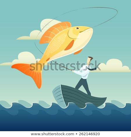 Goldfisch Fischerei glücklich Liebe Geschichte Stock foto © Fisher