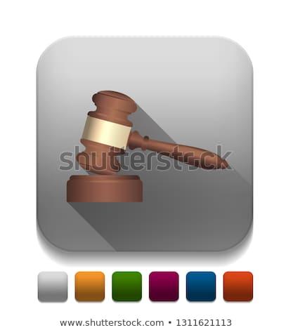 houten · rechter · hamer · geïsoleerd · witte · business - stockfoto © pakete