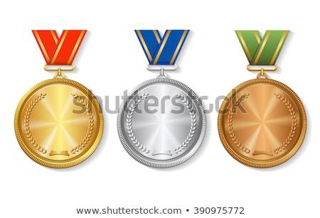 Arany ezüst bronz medálok csillagok piros Stock fotó © pakete