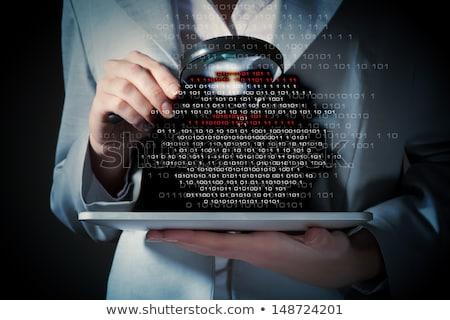 Hacker nyomozás illusztráció terv grafikus fehér Stock fotó © alexmillos