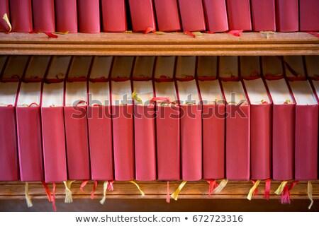 Boglya piros Biblia könyvek templom Európa Stock fotó © kyolshin