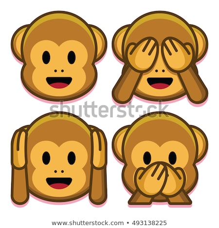 Három majmok állatkert illusztráció művészet felirat Stock fotó © bluering