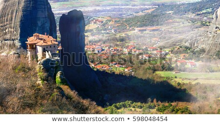 mysterious Meteora monasteries in early morning, Central Greece stock photo © Freesurf