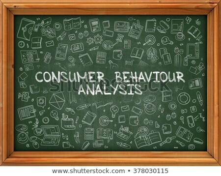 потребитель поведение анализ рисованной зеленый доске Сток-фото © tashatuvango