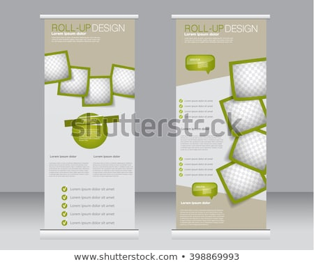 business roll up banner design template in green color stock photo © SArts