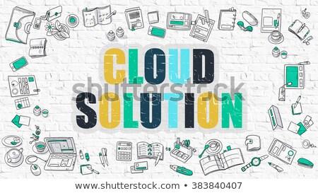felhő · alapú · technológia · firka · terv · ikonok · felirat · fehér - stock fotó © tashatuvango