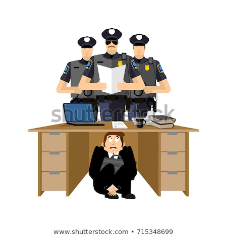 Businessman scared under table of policemen. frightened business Stock photo © popaukropa