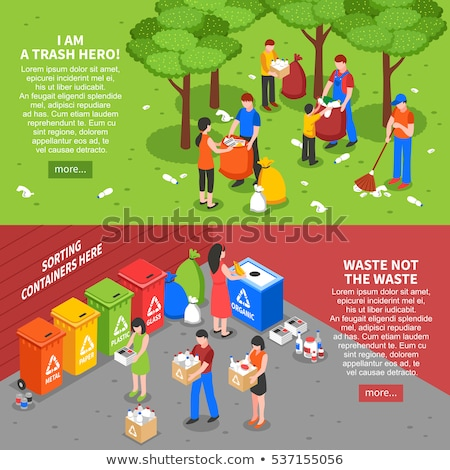 Info graphics elements of garbage in isometric, vector illustration. Stock photo © kup1984