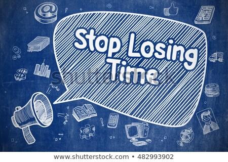 Stop tempo doodle illustrazione blu lavagna Foto d'archivio © tashatuvango