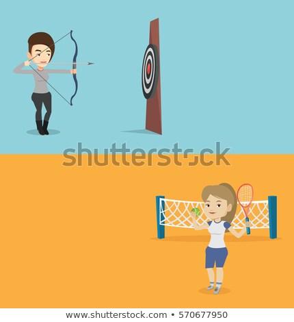 スポーツウーマン 弓 矢印 ターゲット 小さな 白人 ストックフォト © RAStudio