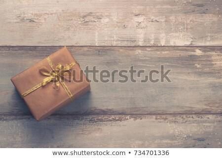 klasszikus · ajándék · doboz · papír · arany · szalag · kék - stock fotó © Lana_M