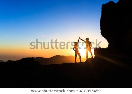 uomo · tramonto · guardando · view · montagna - foto d'archivio © blasbike