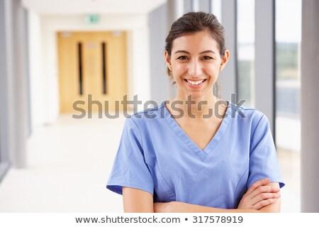 Zdjęcia stock: Pielęgniarki · stałego · szpitala · korytarz · kobieta