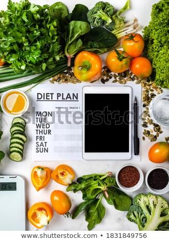 Detoxikáló konyha mérleg gyümölcsök zöldségek forma Stock fotó © unikpix