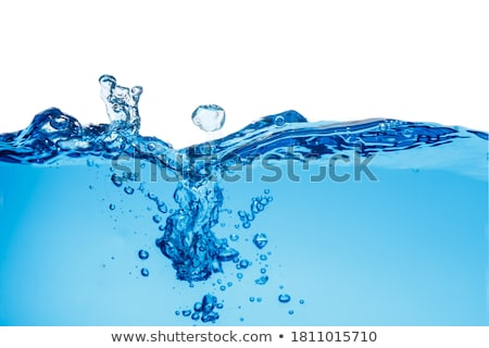 Stock photo: Bottle of clean  water  in water ripples over colored background