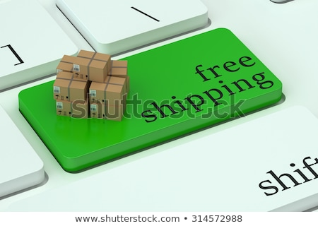 Teclado verde botão frete grátis ilustração 3d Foto stock © tashatuvango
