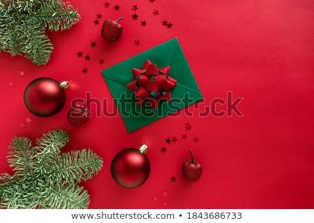 Stock fotó: Karácsony · piros · zöld · zuhan · hó · lucfenyő